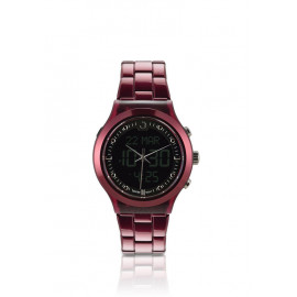Alfajr Elegance Watch Aluminum Strap and Plastic case for unisex/Analog Digital WB-20 - Maroon