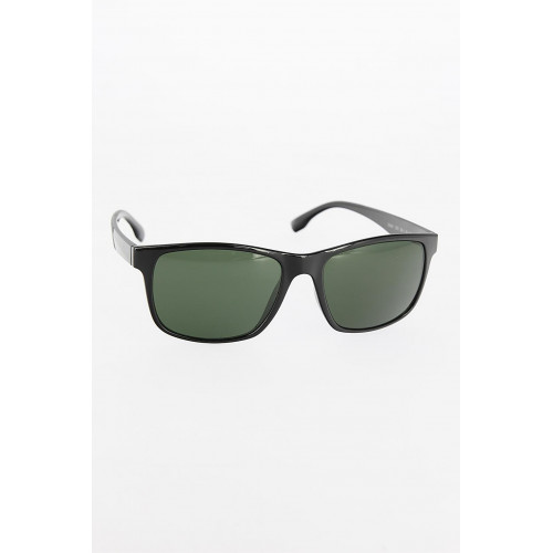 Men's Black Frame Green Glass Sunglasses